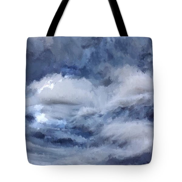 Tote Bag featuring the painting Storm At Sea by Mark Taylor