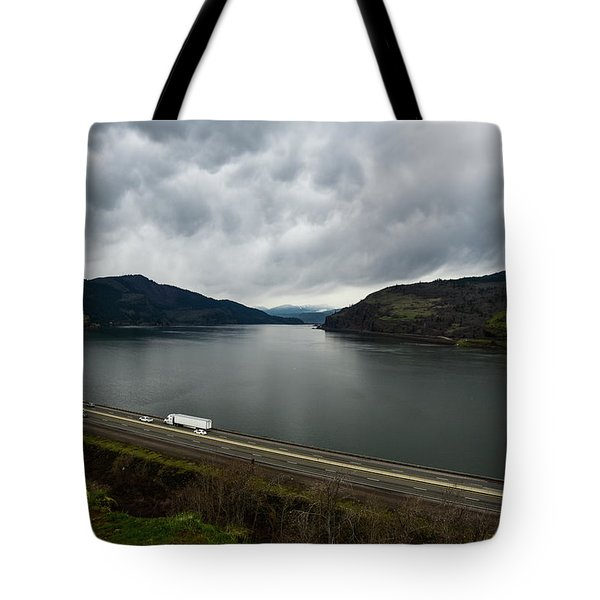 Storm Brewing On The Columbia Tote Bag