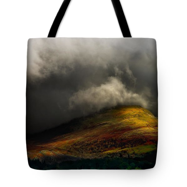Storm Brewing Over Hawkshead Tote Bag by Meirion Matthias