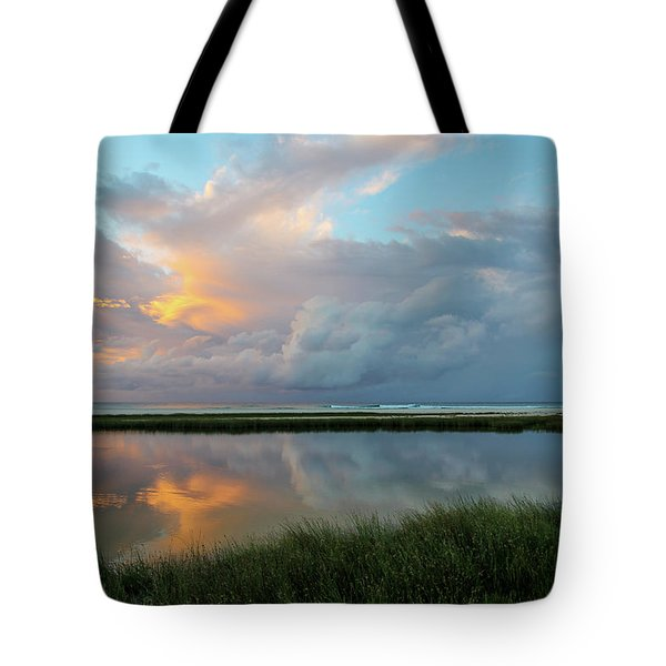 Storm Cloud Reflections At Sunset Tote Bag