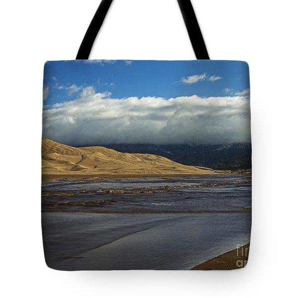 Storm Clouds Great Sand Dunes National Park Tote Bag by Nature Scapes Fine Art