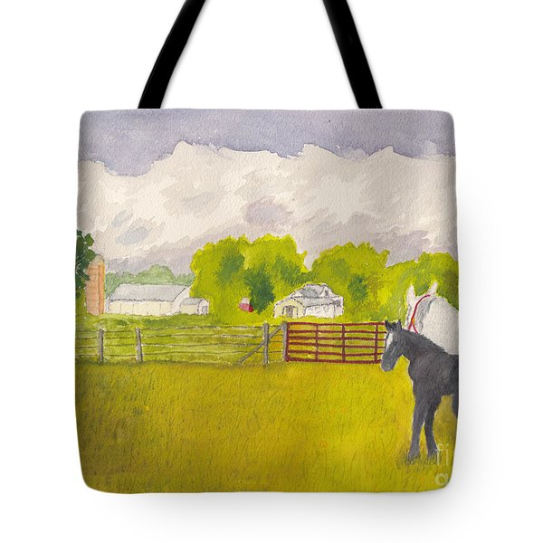 Storm Clouds Mare And Colt At Sunrise Tote Bag