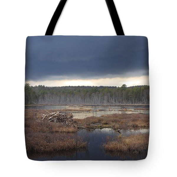 Storm Clouds Over Beaver Pond Tote Bag