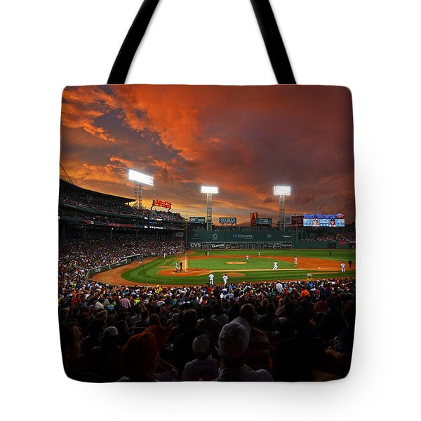 Storm Clouds Over Fenway Park Tote Bag