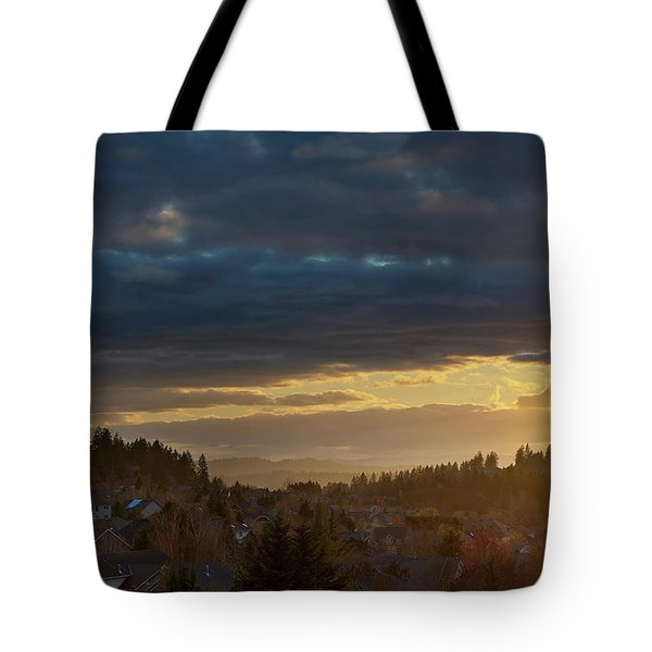 Storm Clouds Over Happy Valley During Sunset Tote Bag by David Gn