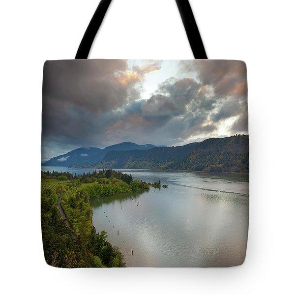 Storm Clouds Over Hood River Tote Bag by David Gn