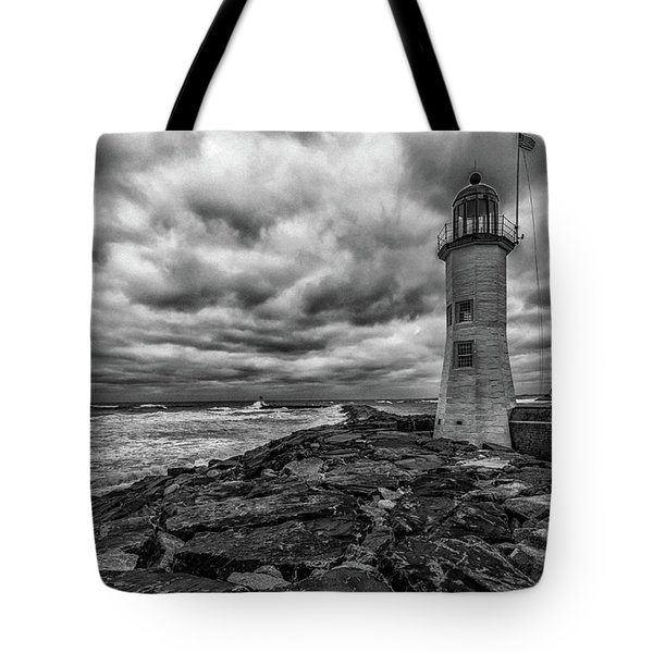 Storm Clouds Over Old Scituate Lighthouse In Black And White Tote Bag