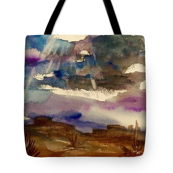 Storm Clouds Over The Desert Tote Bag by Ellen Levinson