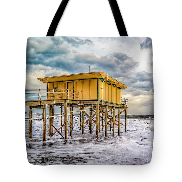 Tote Bag featuring the photograph Storm Clouds Over The Ocean by Nick Zelinsky
