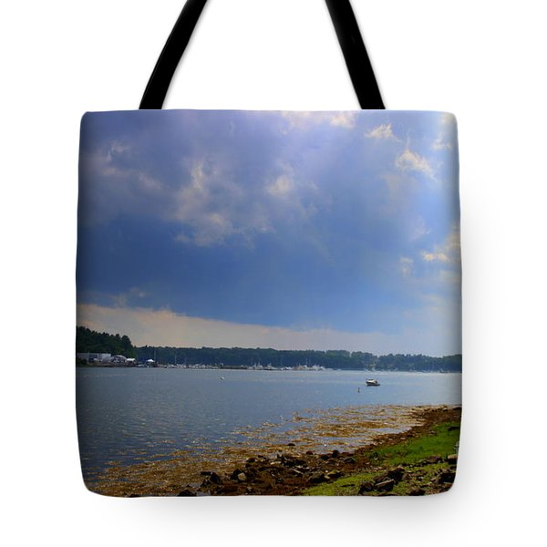 Storm  Clouds Over The River Tote Bag