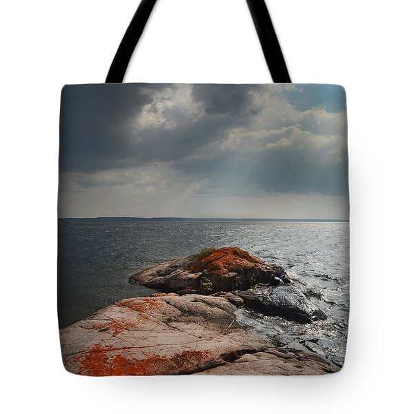 Storm Clouds Over Wall Island Tote Bag
