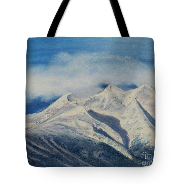 Storm Clouds Over Winter Mountain Blues Tote Bag