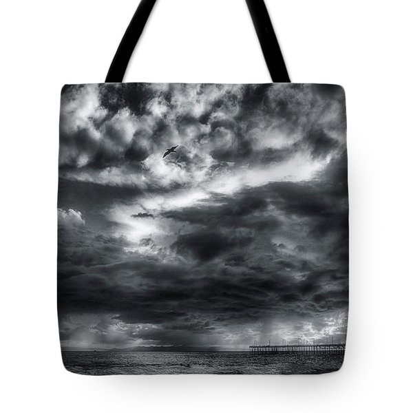 Tote Bag featuring the photograph Storm Clouds Ventura Ca Pier by John A Rodriguez