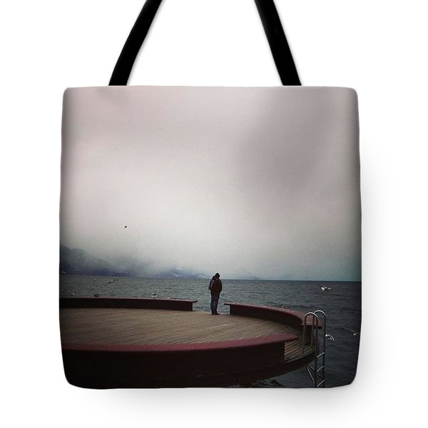 Storm Coming Over Lac Leman Tote Bag