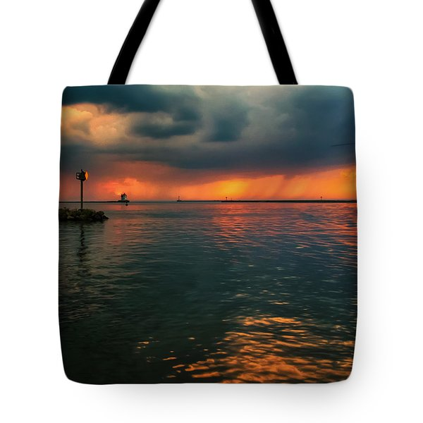 Storm In Lorain Ohio At The Lighthouse Tote Bag