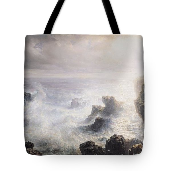 Storm Off The Coast Of Belle Ile Tote Bag by Jean Antoine Theodore Gudin