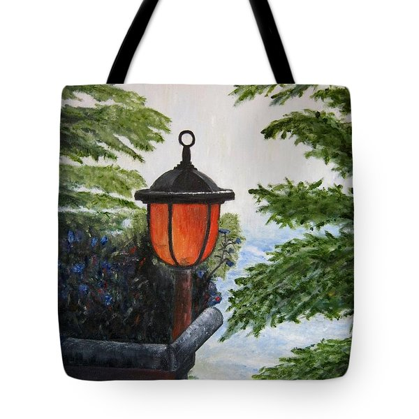 Tote Bag featuring the painting Storm On Lake Of The Woods by Marilyn  McNish