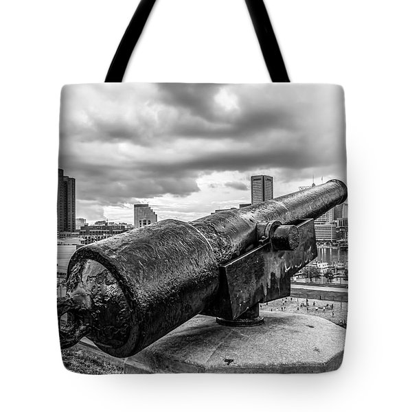 Storm Over Baltimore Black And White Tote Bag
