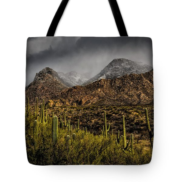 Storm Over Catalinas 15 Tote Bag by Mark Myhaver