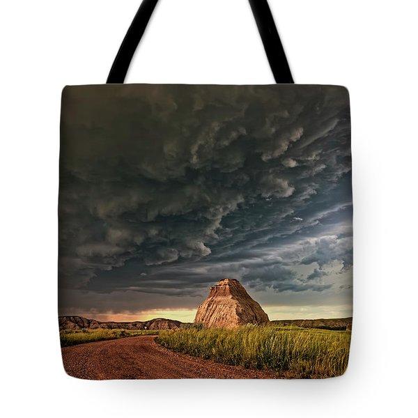 Storm Over Dinosaur Tote Bag