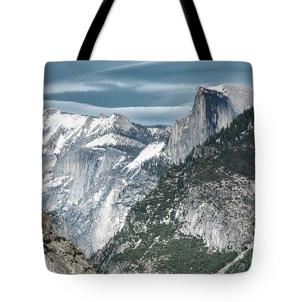 Tote Bag featuring the photograph Storm Over Half Dome by Sandra Bronstein