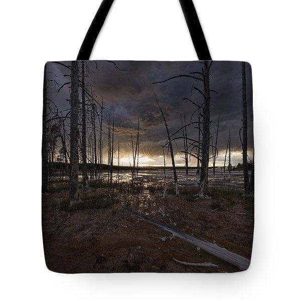 Storm Over Lower Geyser Basin Tote Bag