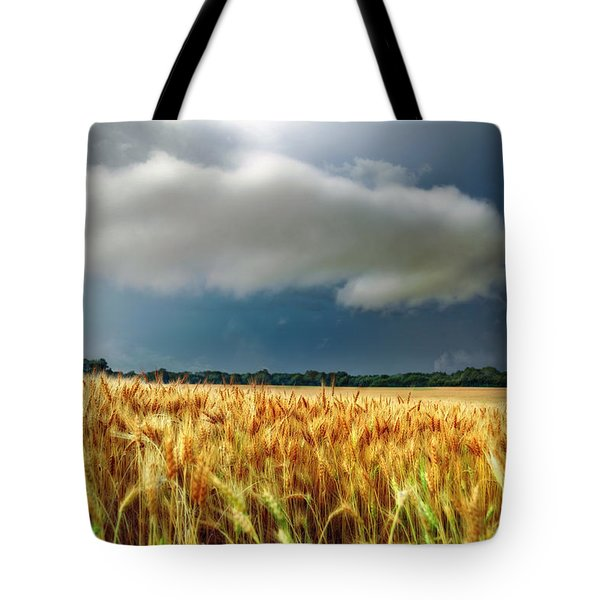 Storm Over Ripening Wheat Tote Bag