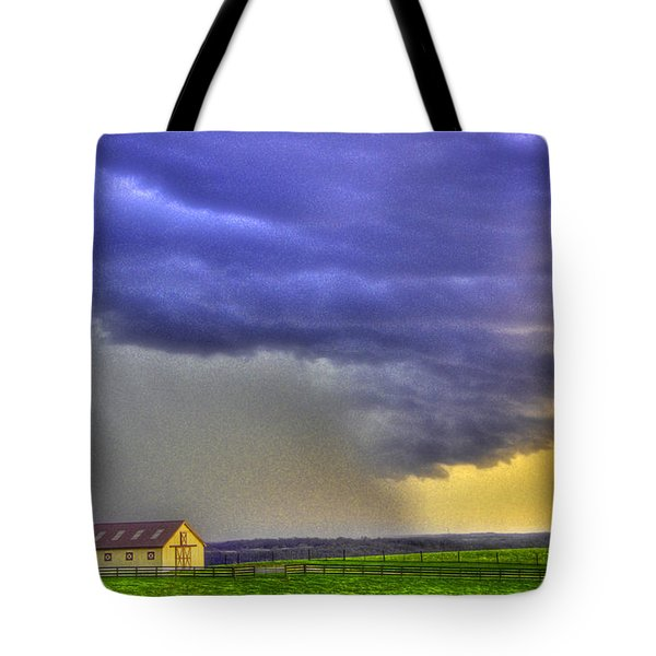 Storm Over River Tote Bag