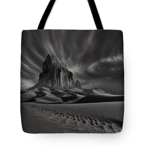 Storm Over Shiprock New Mexico Tote Bag