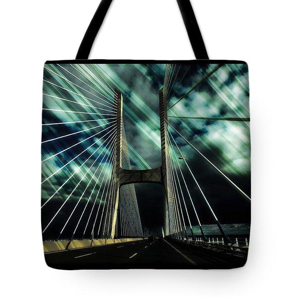 Storm Over The Bridge  Tote Bag