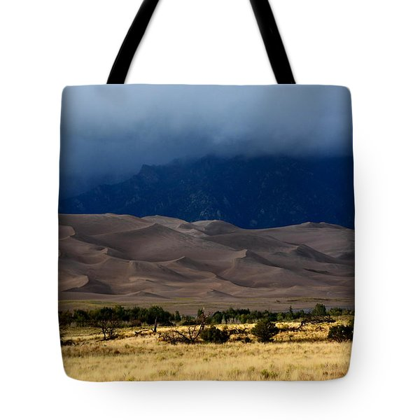 Storm Over The Great Dunes Colorado  Tote Bag
