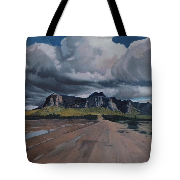 Storm Over The Superstitions Tote Bag