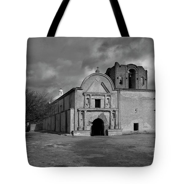 Tote Bag featuring the photograph Storm Over Tumacacori II by Sandra Bronstein
