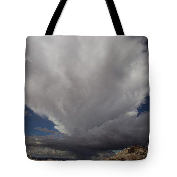 Storm Over White Pocket Tote Bag