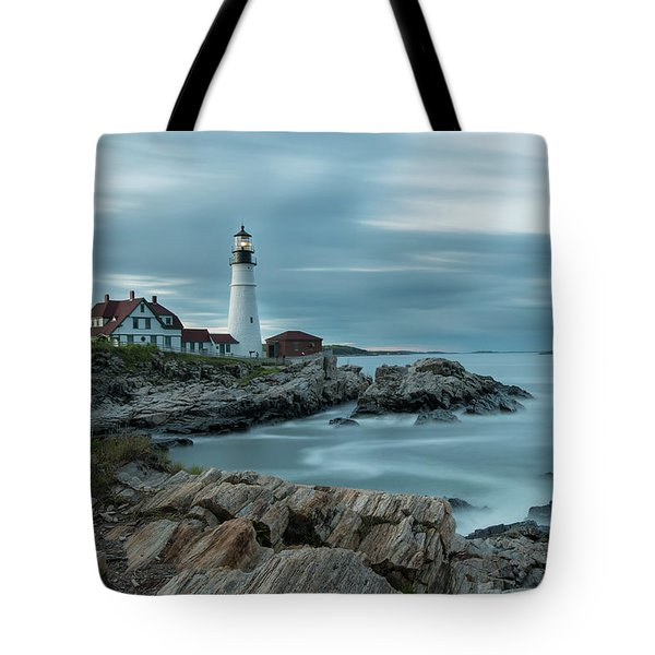 Storm Passing At Portland Head Light Tote Bag