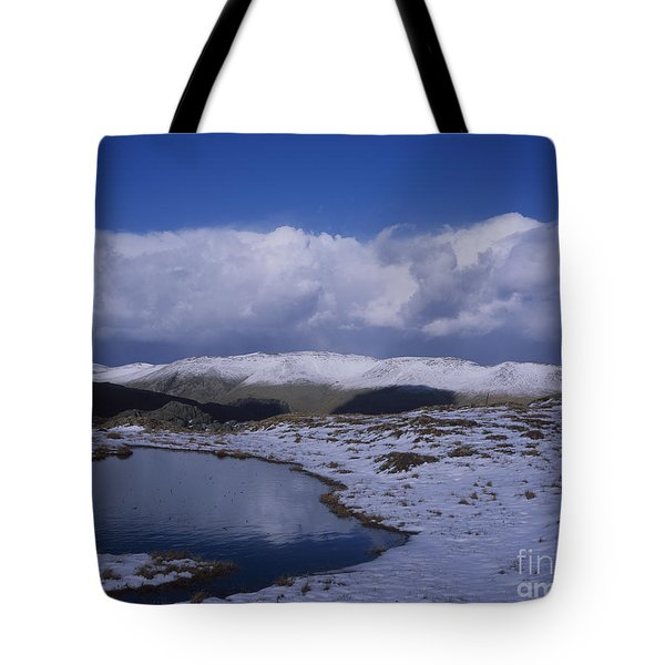 Storm  Shower Clouds Passing Over  Snow Capped Summit Of Helvellyn From Near Ash Crags  High Raise Tote Bag