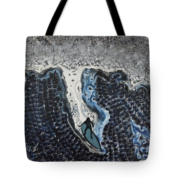 Storm Surfer Original Painting Sold Tote Bag