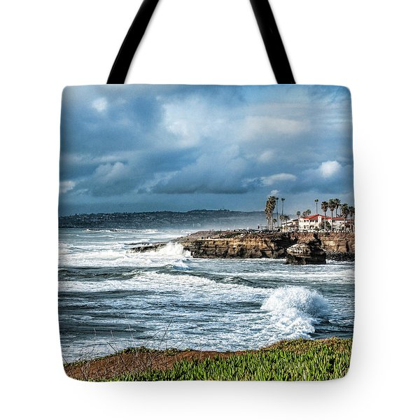 Storm Wave At Sunset Cliffs Tote Bag by Daniel Hebard