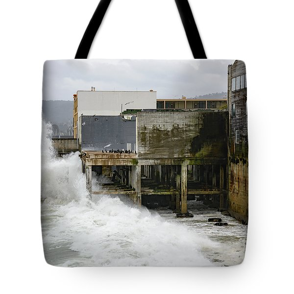 Storm Waves Hit Aeneas Ruins At Cannery Row Tote Bag