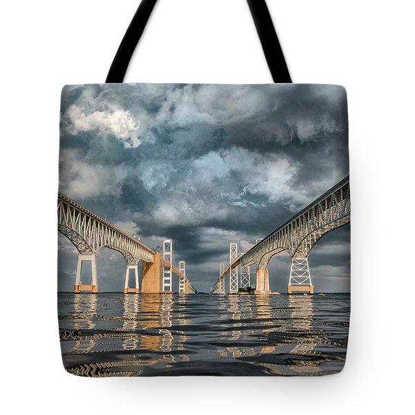 Stormy Chesapeake Bay Bridge Tote Bag