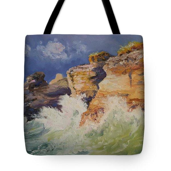Stormy Cliffs At Sea Tote Bag