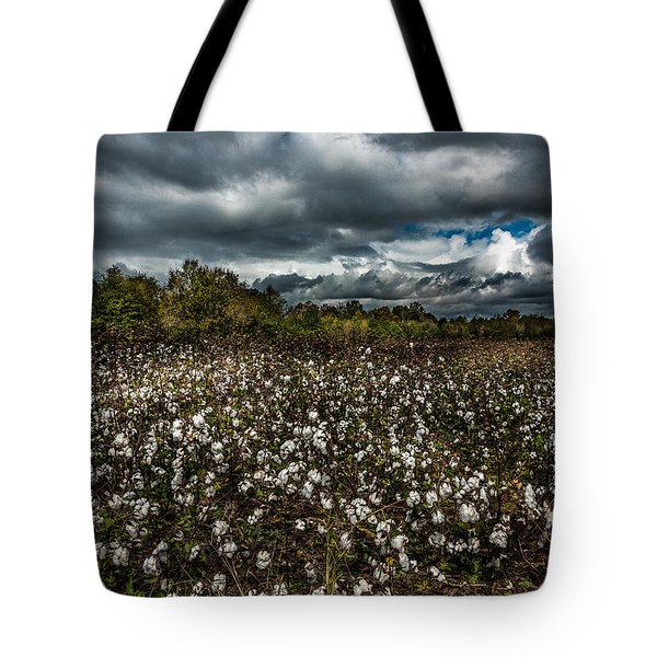 Stormy Cotton Field Tote Bag