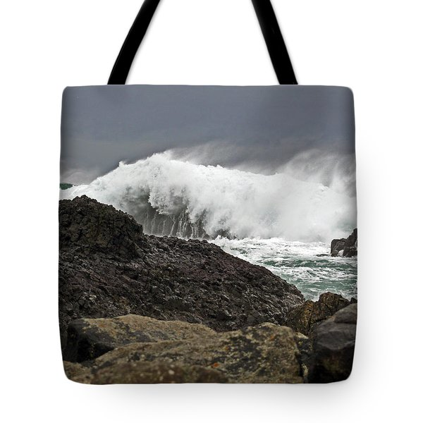 Stormy Day At Ballintoy Harbour Tote Bag