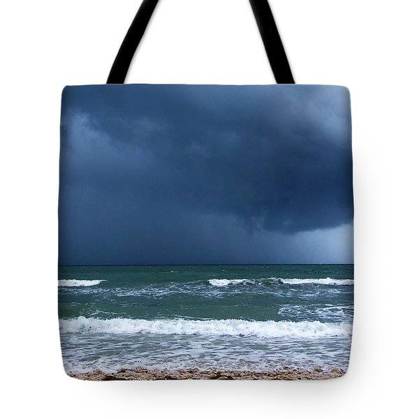 Tote Bag featuring the photograph Stormy Day At Honeymoon Island 001 by Chris Mercer
