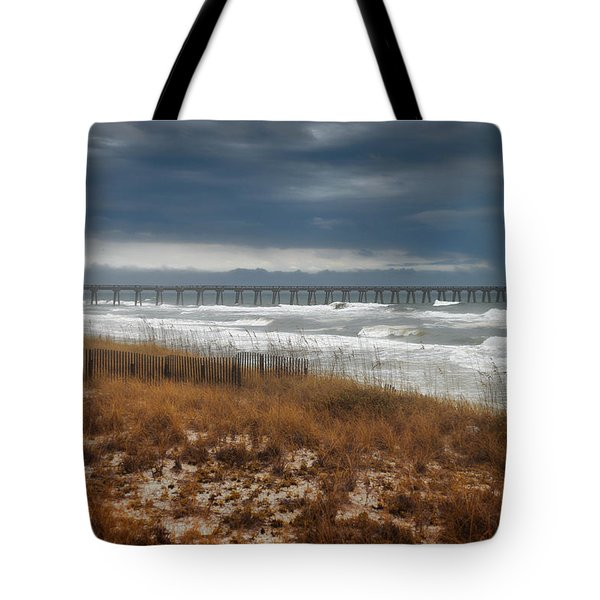 Stormy Day At The Pier Tote Bag
