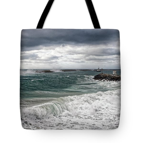 Tote Bag featuring the photograph Stormy Day On Redondo by Michael Hope