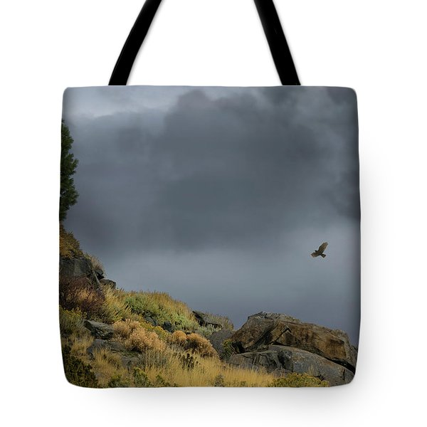 Tote Bag featuring the photograph Stormy Flight by Frank Wilson