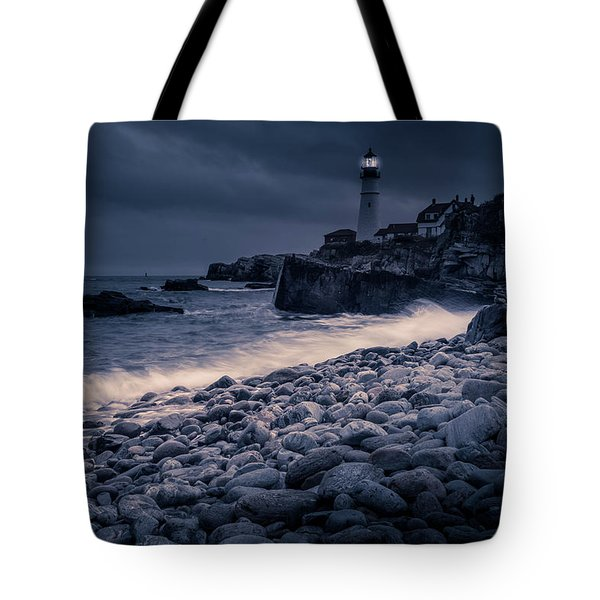 Tote Bag featuring the photograph Stormy Lighthouse 2 by Doug Camara