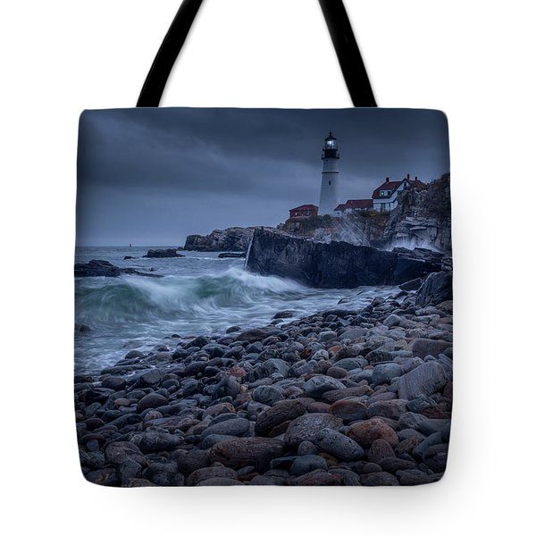 Stormy Lighthouse Tote Bag