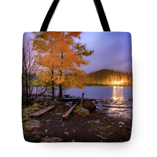 Tote Bag featuring the photograph Stormy Night At Round Lake by Cat Connor